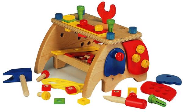 画像1: 木製大工さんのベンチツールセット おもちゃ (1)
